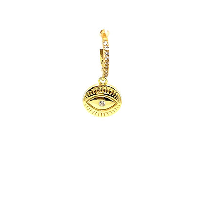 Single Evil Eye Coin Charm Huggie