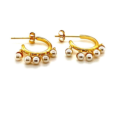 Pair Of Pearl & Gold Charm Stud Hoops