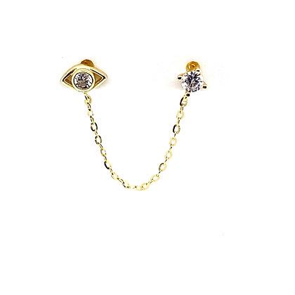 Double Piercing Evil Eye & Crystal Stud Chain