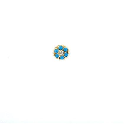 Single Turquoise Flower Stud