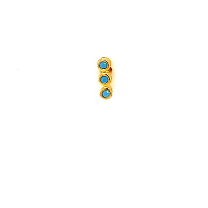 Single Gold Turquiose Crystal Stone Stud Climber