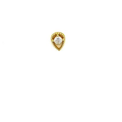 Single Gold Beaded Tear Drop Crystal Stone Stud