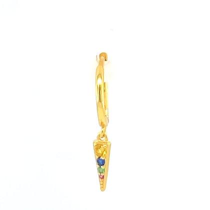 Single Gold Rainbow Spike Charm Huggie