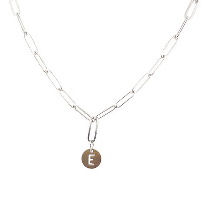 Initial Silver Paperclip Chain Choker