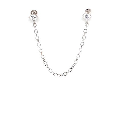 Double Piercing Crystal Stud Chain