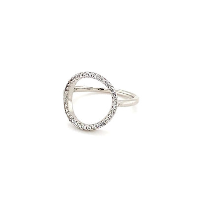 Silver Open Circle Crystal Ring