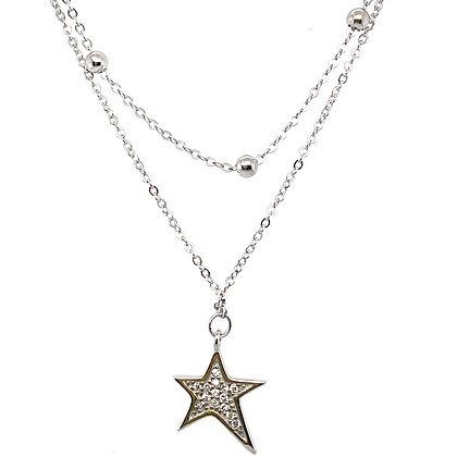 Silver Double Layer Beaded Star Choker