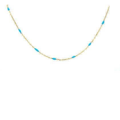 Turquoise Enamel Bead Choker Chain