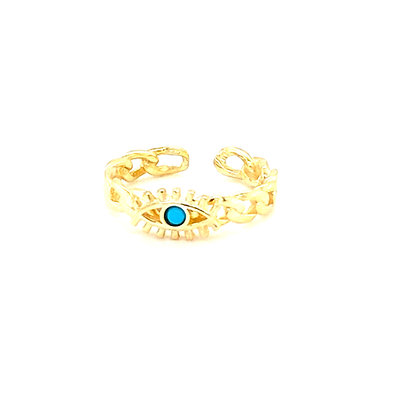 Turquoise Stone Evil Eye Adjustable Ring