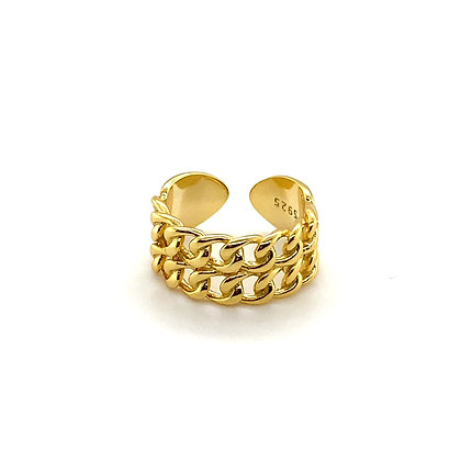 Double Beaded Chain Adjustable Ring