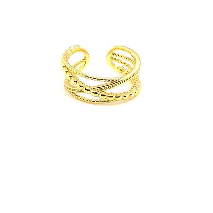Gold Boho Beaded Crossover Ring