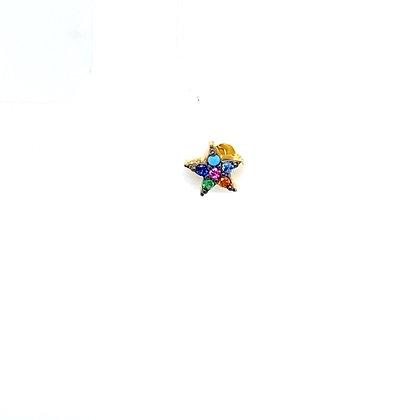 Single Rainbow Mini Star Stud