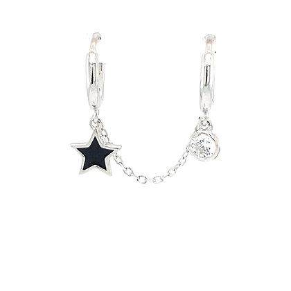 Double Piercing Silver Black Star & Crystal Charm Huggie Chain