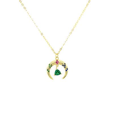 Vintage Crescent Moon Viola Necklace