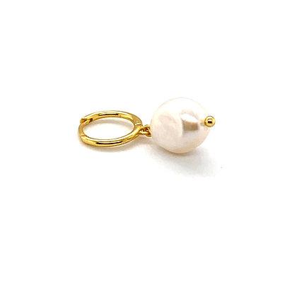 Single Pearl Huggie Drop Charm