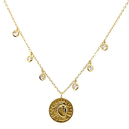 Vintage Gold Coin & Crystal Drop Necklace