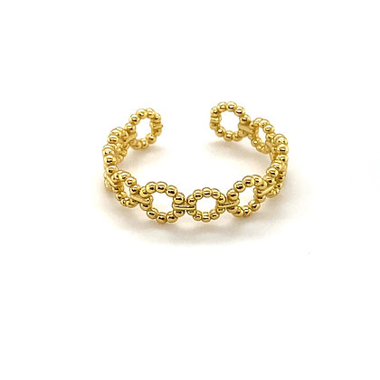 Gold Beaded Chain Adjustable Ring
