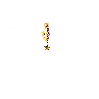 Single Ginny Pink Star Charm Huggie