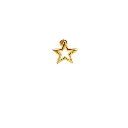 Single Gold Open Star Stud