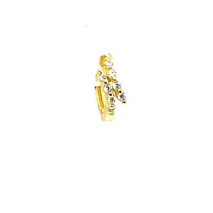 Single Gold Crystal Two Line Huggie