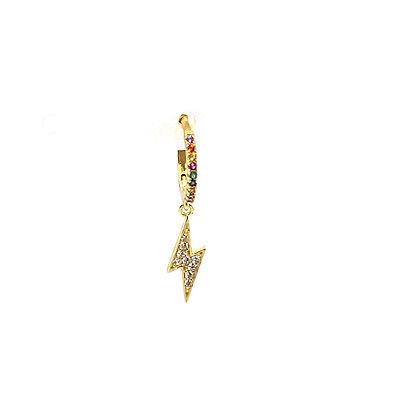 Single Gold Rainbow Lightning Crystal Huggie
