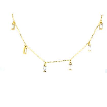 Gold Baguette Charm Necklace