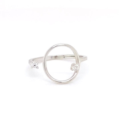 Silver Open Circle Crystal Adjustable Ring