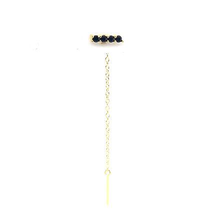 Single Black Bar Stud Chain