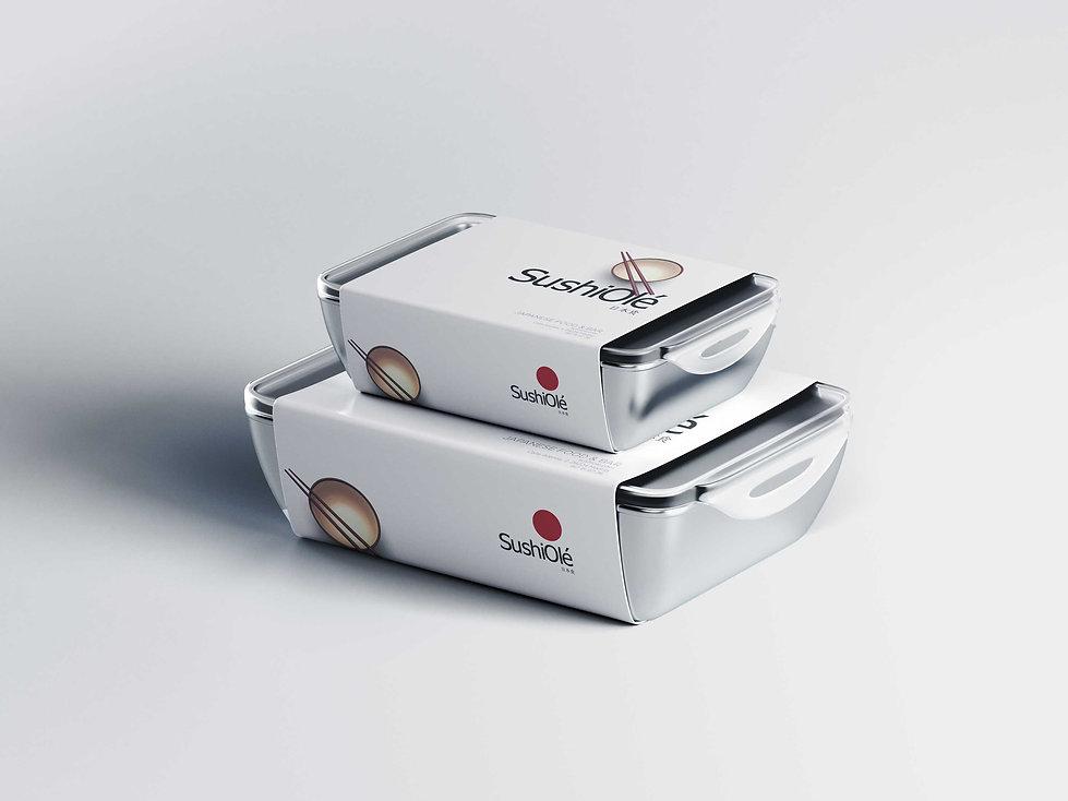 extraordnario diseño grafico de packaging de Sushi para takeaway
