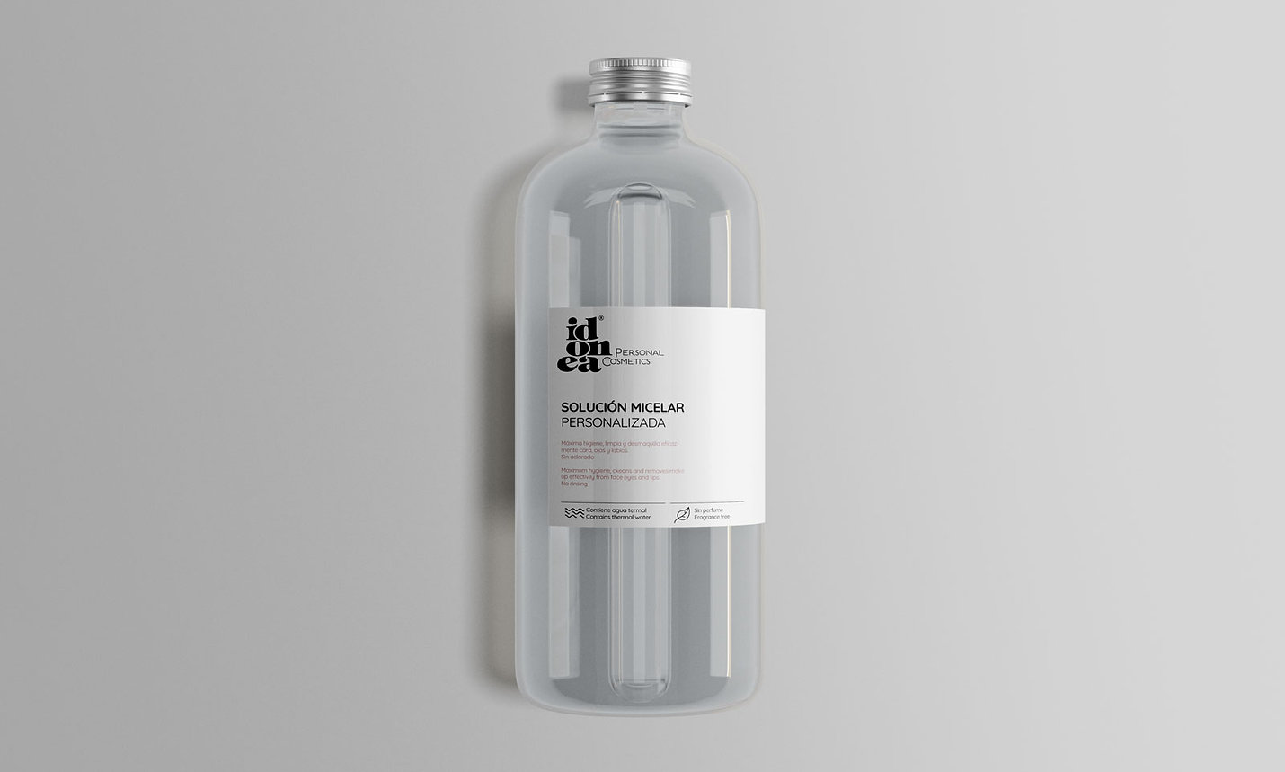 Diseño grafico packaging agua micelar para idonea cosmetica inteligente