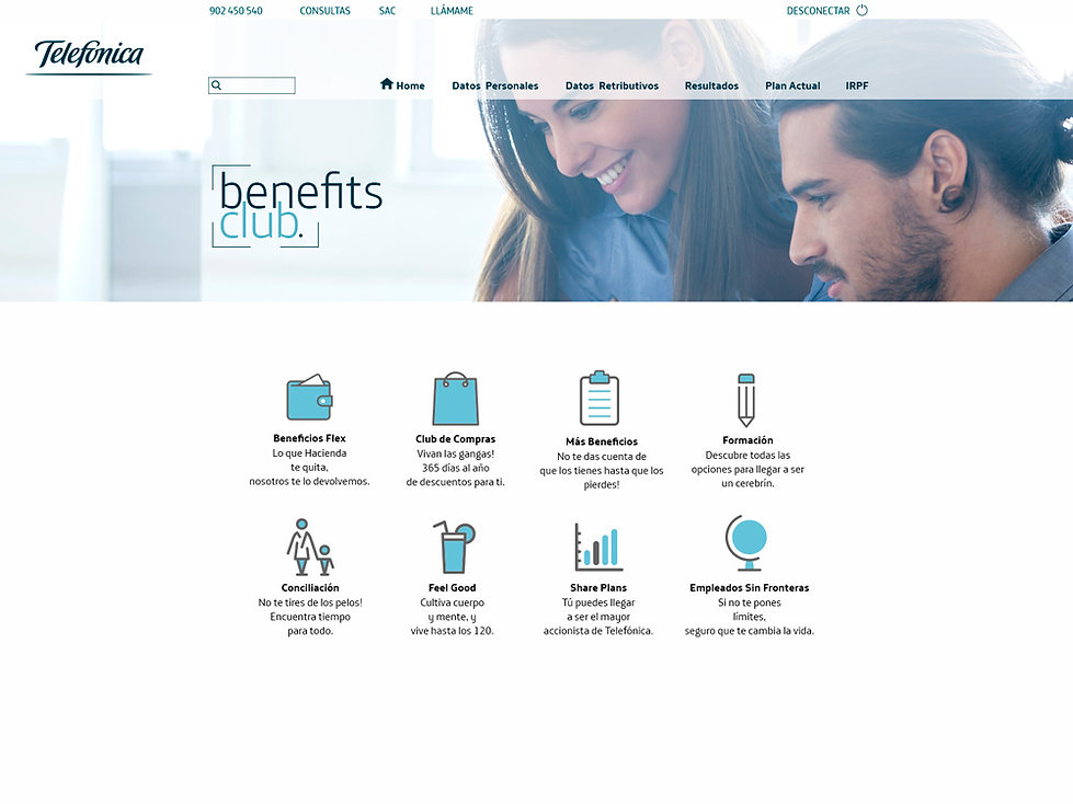 Diseno web interior club telefonica Freelance Creativo Madrid