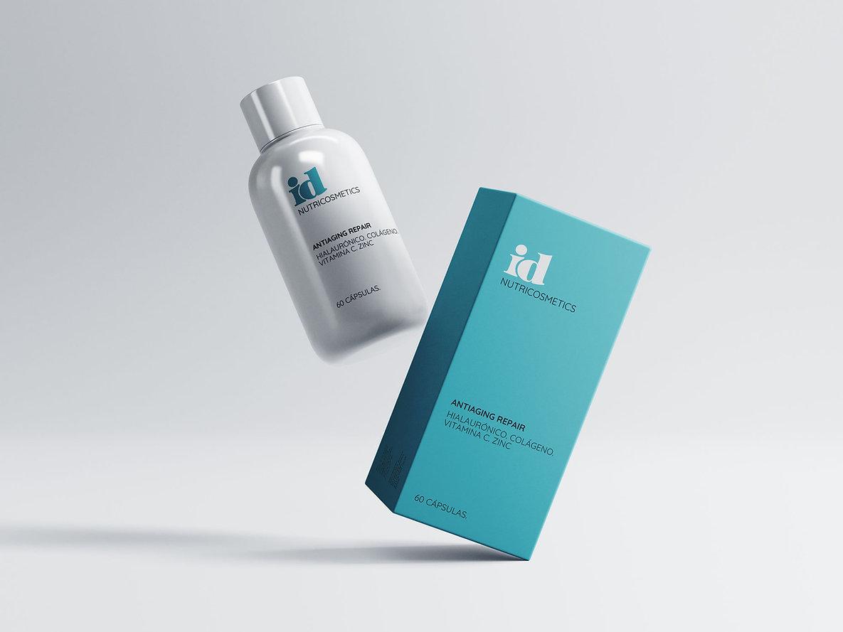Diseño packaging freelance para suplementos alimentarios de Idonea