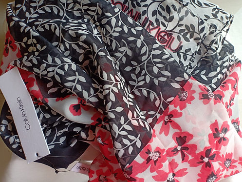 Calvin Klein Women's Colorblock Paisley Silk Scarf Fashion Black/White/Red