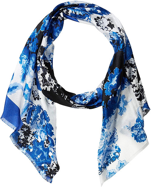 Calvin Klein Women's Colorblock Paisley Silk Scarf Fashion