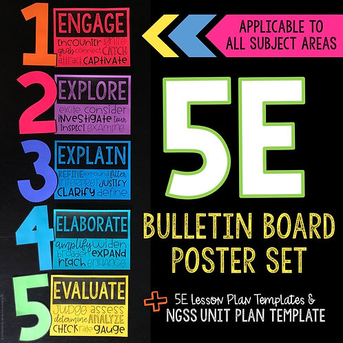 5E Science Bulletin Board Poster Kit and Lesson Plan Template