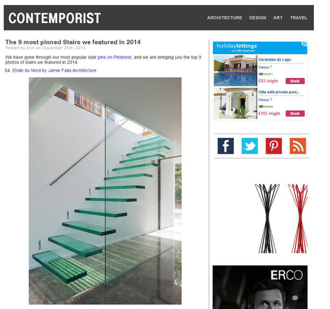 Etoile du Nord is one of  the 9 most pinned Stairs  featured in Contemporist in 2014