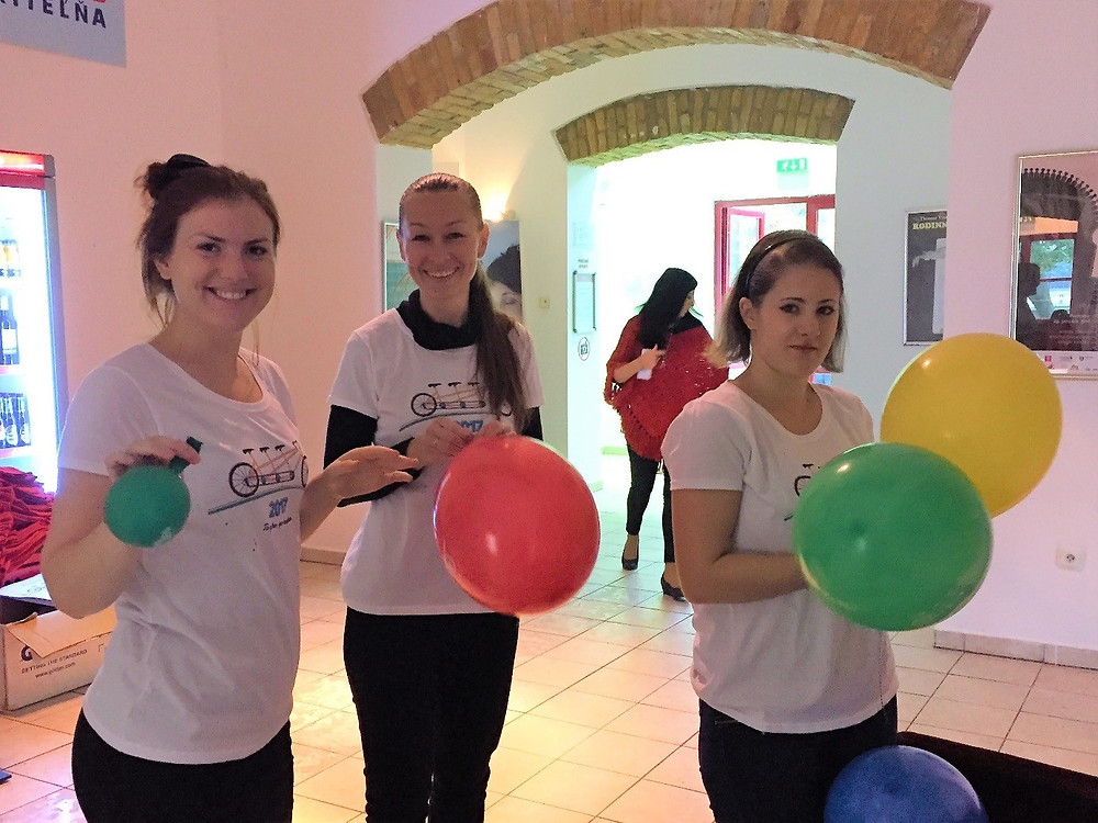 The Interact balloon-team in Bratislava preparing for the European Cooperation Day. Yours truly to the left.