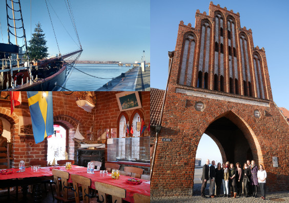 Up: Christmas tree on a boat in Wismar Harbour; Down: inside the Wassertor; Right: Some of DUNC Partners in front of the Wassertor