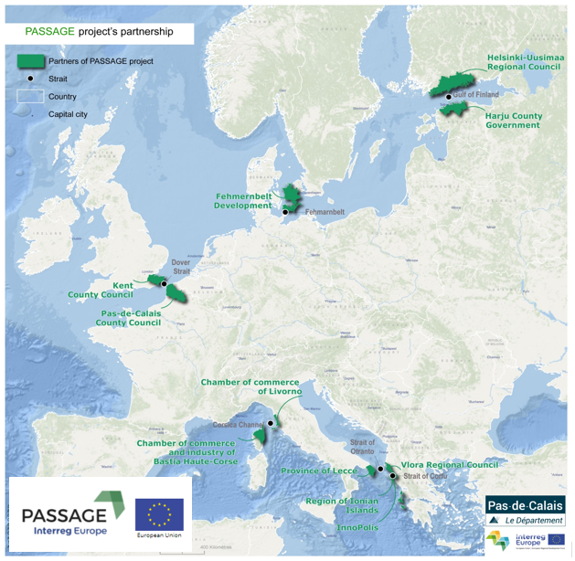 "A map of the Interreg project ""PASSAGE"""