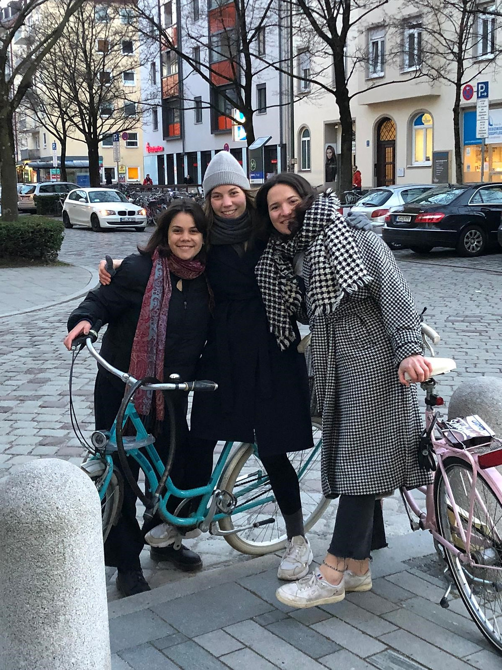 (me (on the very right) with two friends): I moved to Munich for my IVY volunteering experience and was finally able to see two friends again. We explored the city by bike (of course, we were all tested Covid-negative beforehand )