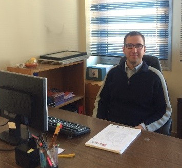 Here is a picture of me in the office at the Drama Chamber of Commerce and Industry.