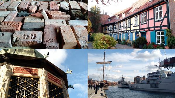 First line: Pictures took in Stralsund, left: red bricks part of the city heritage (Brick Gothic), right: houses;  Second line: Pictures took in Wismar, left: Wismarer Wasserkunst; right: SNMCMG1 in Wismar medieval harbour basin