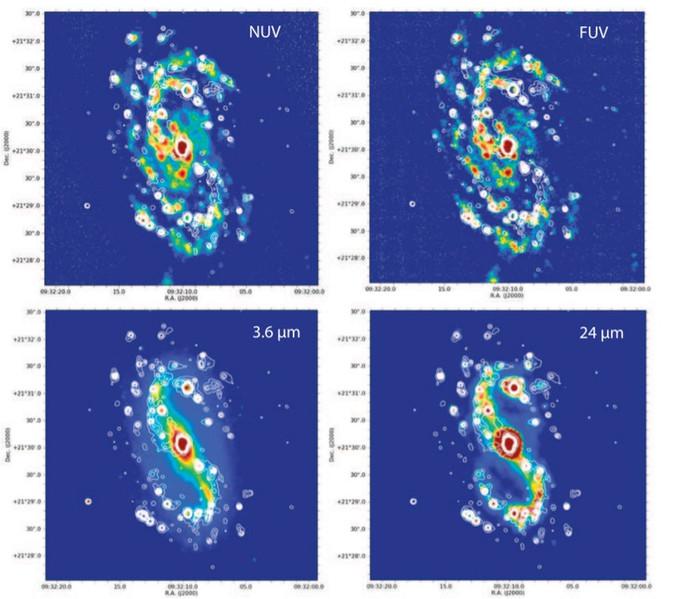 Etude de NGC 2903 dans différentes longueurs d'onde, qui montre de façon particulièrement nette à 24µm la barre centrale.