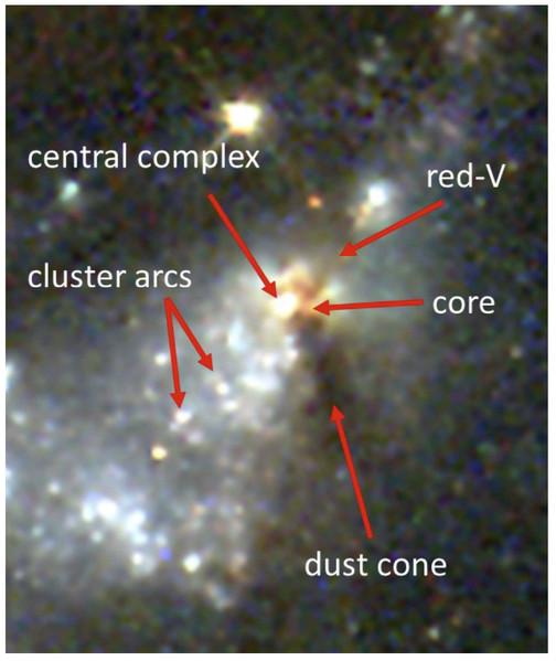 Image composite couleur HST de la structure i et de ses environs