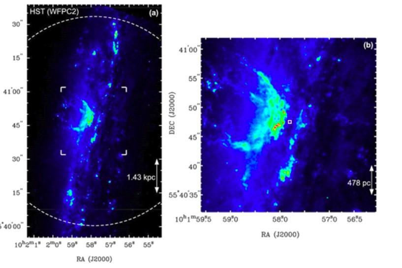 Image optique WFPC2 HST de NGC 3079 superposées aux images des émissions de [N II] et de la ligne H, obtenue à partir des archives de données HST.  Les lignes pointillées représentent la taille du faisceau d'observations d'ammoniac avec le radiotélescope Tsukuba de 32 m.  A gauche, zoom sur la région centrale. Chercher les petits points rouges