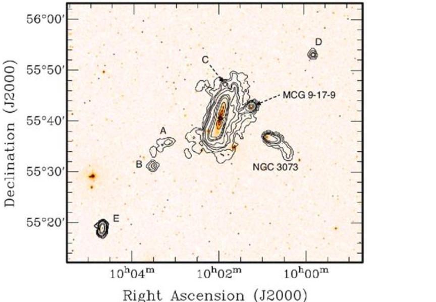 Galaxies en interaction, mises en évidence en HI