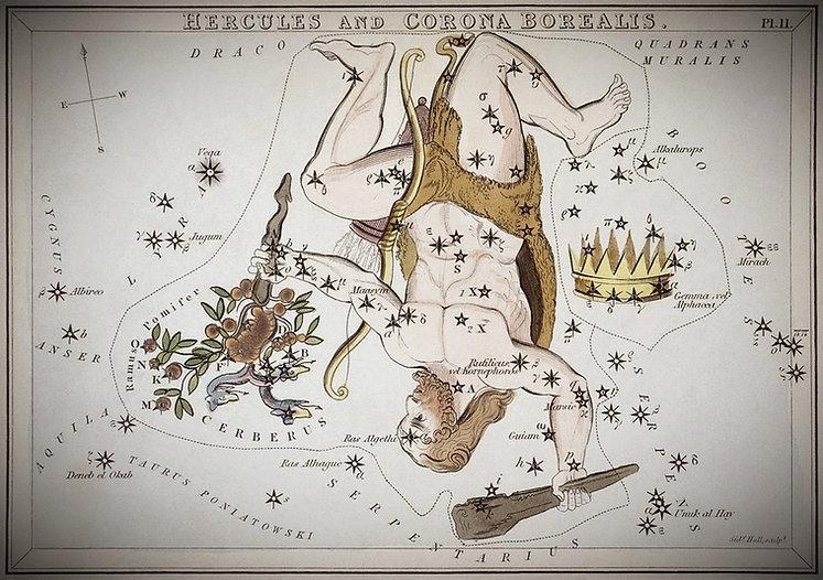 """""""Hercules et Corona Borealis """", planche 11 extraite duMiroir d'Uranie, un jeu de cartes célestes accompagné d'un traité de vulgarisation sur l'astronomie de Josaphat Aspin."""
