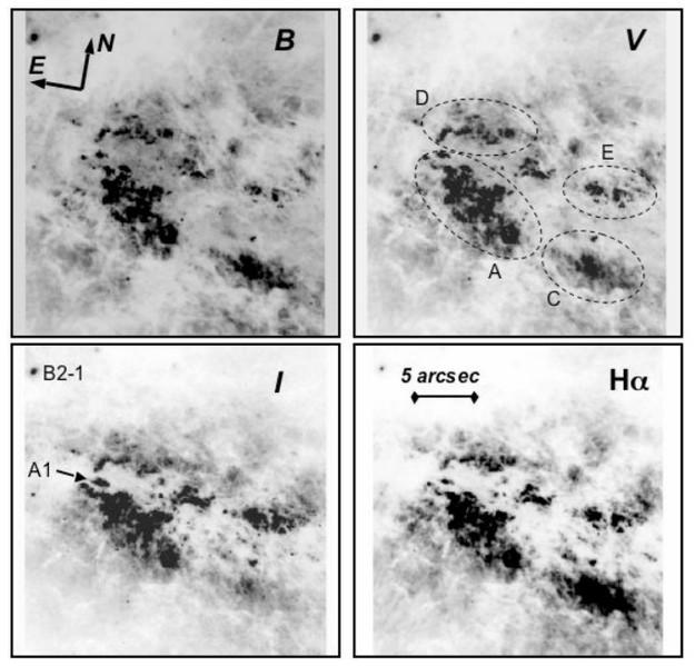 Mise en évidence de jeunes amas d'étoiles massives près du cœur par Hubble