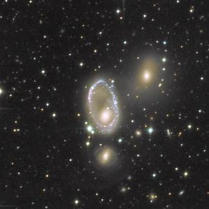 Galaxie la plus proche de la Roue de Charrette sur le plan morphologique et malgré leur toute petite taille apparente, l'une et l'autre sont parmi les plus grandes galaxies de type RiG (Ring Galaxies).