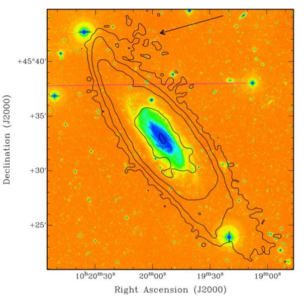 Carte de HI total (contours) superposée à une image en fausses couleurs HALOSTARS. Les contours représentent 0.1, 1,5 et 15 × 10^20 atomes/cm²  La flèche correspond à la zone d'émission stellaire excentrée